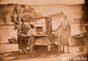 Utcai kebab árus Isztambulban, Fotó: James Robertson, 1854