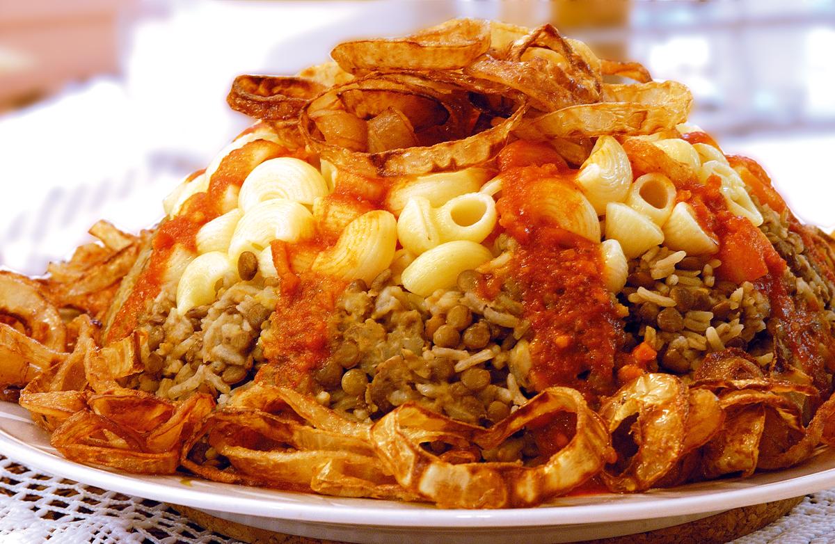 Koshari, mujaddara, lencsés rizs